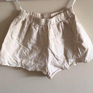 off white fabric shorts